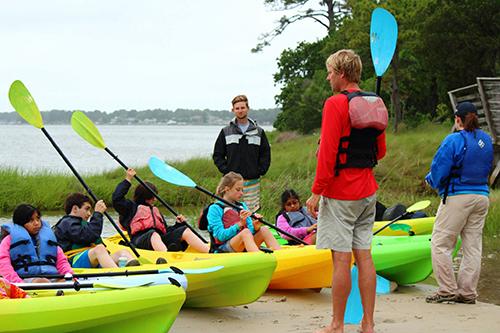 kids in kayak